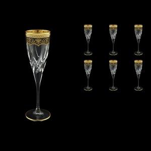 Trix CFL TEGB Champagne Flutes 120ml 6pcs in Flora´s Empire Golden Black Decor (26-564)