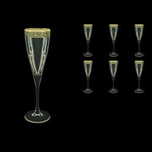 Fusion CFL FMGB H Champagne Flutes 170ml 6pcs in Lilit Golden Black Decor+H (31-434/H)