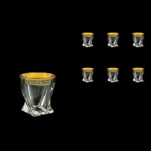 Bohemia Quadro B2 QMGB Whisky Glasses 340ml 6pcs in Lilit Golden Black Decor (31-465)