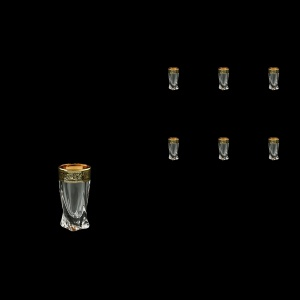 Bohemia Quadro B5 QMGB Liqueur Tumblers 50ml 6pcs in Lilit Golden Black Decor (31-464)