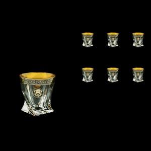 Bohemia Quadro B2 QOGB Whisky Glasses 340ml 6pcs in Lilit&Leo Golden Black Decor (41-465)