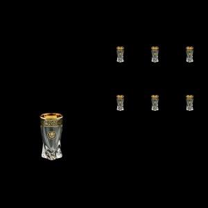 Bohemia Quadro B5 QMGB Liqueur Tumblers 50ml 6pcs in Lilit&Leo Golden Black Decor (41-464)