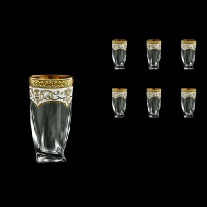 Bohemia Quadro B0 QEGW Water Decanter 350ml 6pcs in Flora´s Empire Gold. White D. (21-339)