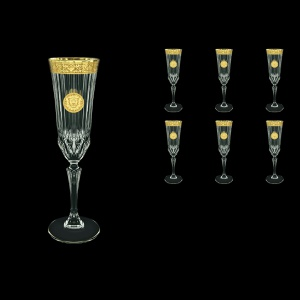 Adagio CFL AOGC Champagne Flutes 180ml 6pcs in Romance&Leo Golden Classic Decor (43-486)