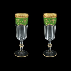 Provenza CFL PEGG Champagne Flutes 160ml 2pcs in Flora´s Empire Golden Green D. (24-524/2)