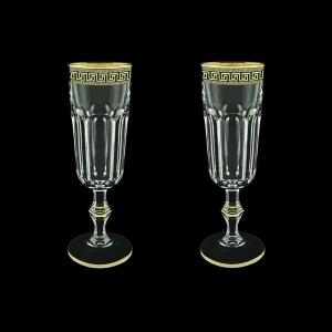 Provenza CFL PAGB Champagne Flutes 160ml 2pcs in Antique Golden Black Decor (57-138/2/b)