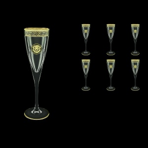 Fusion CFL FLGB Champagne Flutes 170ml 6pcs in Antique&Leo Golden Black Decor (42-434)