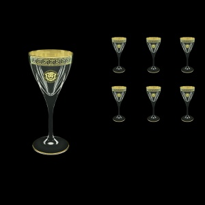 Fusion C3 FLGB Wine Glasses 210ml 6pcs in Antique&Leo Golden Black Decor (42-431)