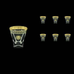 Fusion B2 FLGB Whisky Glasses 270ml 6pcs in Antique&Leo Golden Black Decor (42-397)