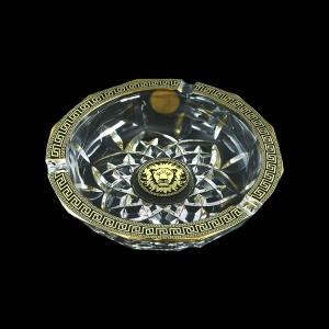 Opera PO OLGB Ashtray d17,5cm 1pc in Antique&Leo Golden Black Decor (42-406)