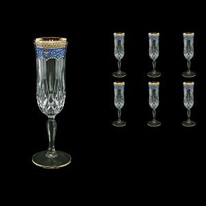 Opera CFL OEGC Champagne Flutes 130ml 6pcs in Flora´s Empire Golden Blue Decor (23-655)