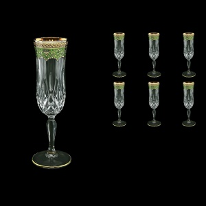 Opera CFL OEGG Champagne Flutes 130ml 6pcs in Flora´s Empire Golden Green Decor (24-655)