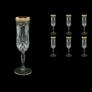 Opera CFL OEGB Champagne Flutes 130ml 6pcs in Flora´s Empire Golden Black Decor (26-655)