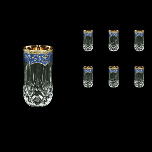 Opera B9 OEGC Water Glasses 240ml 6pcs in Flora´s Empire Golden Blue Decor (23-658)