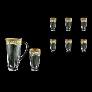 Bohemia Quadro Set J+B0 QEGW 1+6 pcs, 1100ml+6x350ml, in Empire Gold. White D.(21-340/339)