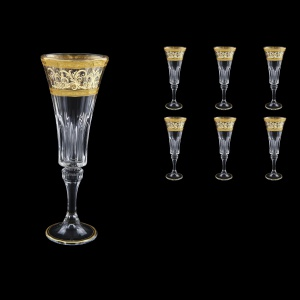 Wellington CFL WALK Champagne Flutes 180ml 6pcs in Allegro Golden Light Decor (65-762/L)