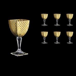 Arezzo C3 ACHG Wine Glasses 270ml 6pcs in Chessboard Golden Decor (763)