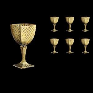 Arezzo C3 ACHG N Wine Glasses 270ml 6pcs in Chessboard Golden Decor+N (767)