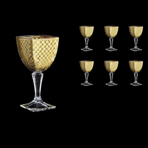 Arezzo C2 ACHG Wine Glasses 300ml 6pcs in Chessboard Golden Decor (764)
