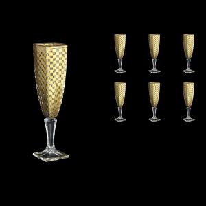 Arezzo CFL ACHG Champagne Flutes 140ml 6pcs in Chessboard Golden Decor (765)