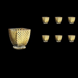 Arezzo B2 ACHG Whisky Glasses 320ml 6pcs in Chessboard Golden Decor (766)