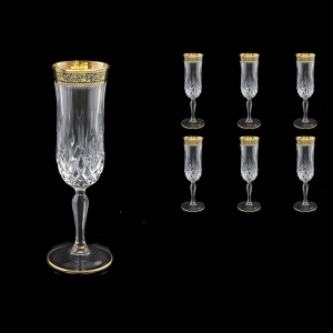 Opera CFL OMGB Champagne Flutes 130ml 6pcs in Lilit Golden Black Decor (31-235)