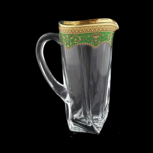 Bohemia Quadro J QEGG Jug 1100ml 1pc in Flora´s Empire Gold. Green D. (24-340)
