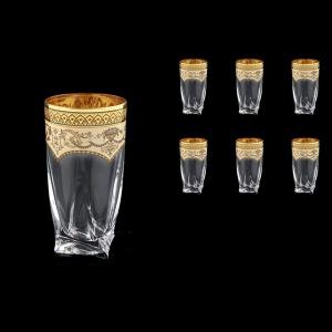 Bohemia Quadro B0 QEGI Water Decanter 350ml 6pcs in Flora´s Empire Gold. Ivory D. (25-339)