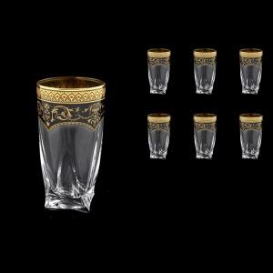 Bohemia Quadro B0 QEGB Water Decanter 350ml 6pcs in Flora´s Empire Gold. Black D. (26-339)