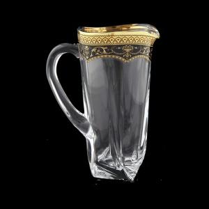 Bohemia Quadro J QEGB Jug 1100ml 1pc in Flora´s Empire Gold. Black D. (26-340)