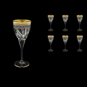 Trix C3 TEGC Wine Glasses 180ml 6pcs in Flora´s Empire Golden Blue Decor (23-562)