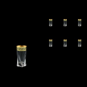 Bohemia Quadro B5 QAGB Liqueur Tumblers 50ml 6pcs in Antique Golden Black Decor (57-464/b)
