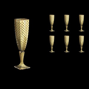 Arezzo CFL ACHG N Champagne Flutes 140ml 6pcs in Chessboard Golden Decor+N (769)