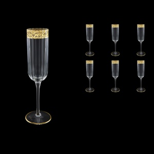 Bach CFL BNGL Champagne Flutes 210ml 6pcs in Romance Golden Bright Decor (33-887/BT)
