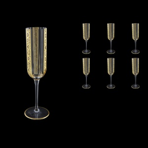 Bach CFL BNGL Champagne Flutes 210ml 6pcs in Romance Golden Bright Decor (33-888/BT)