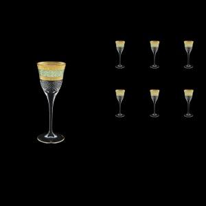 Fiesole C5 FALT Liqueur Glasses 70ml 6pcs in Allegro Golden Turquoise Light D. (6T-829/L)