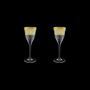 Fiesole C5 FALT Liqueur Glasses 70ml 2pcs in Allegro Gold. Turquoise Light D. (6T-829/2/L)