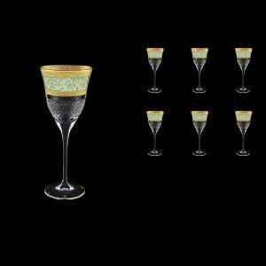 Fiesole C3 FALT Wine Glasses 190ml 6pcs in Allegro Golden Turquoise Light Decor (6T-830/L)