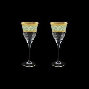 Fiesole C3 FALT Wine Glasses 190ml 2pcs in Allegro Golden Turquoise Light D.(6T-830/2/L)