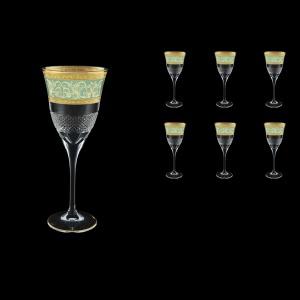 Fiesole C2 FALT Wine Glasses 282ml 6pcs in Allegro Golden Turquoise Light Decor (6T-831/L)