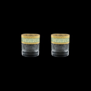 Fiesole B2 FALT Whisky Glasses 290ml 2pcs in Allegro Gold. Turquoise Light D. (6T-833/2/L)