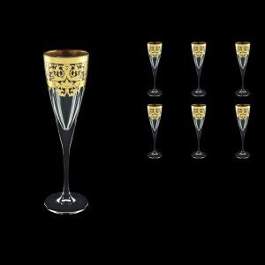 Fusion CFL F0026 Champagne Flutes 170ml 6pcs in Natalia Golden Black Decor (F0026-0110)