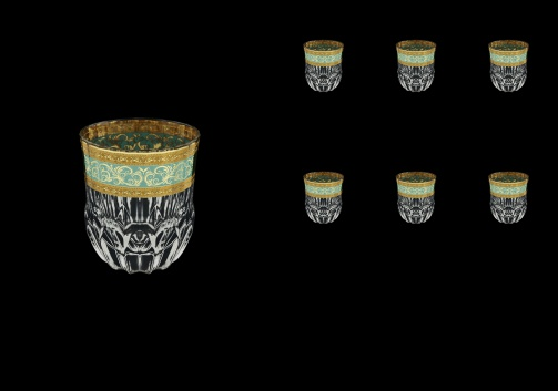 Adagio B2 AALT Whisky Glasses 350 6pcs in Allegro Golden Turquoise Light D. (6T-646/L)