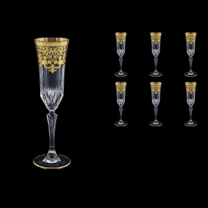 Adagio CFL F0026 Champagne Flutes 180ml 6pcs in Natalia Golden Black Decor (F0026-0410)