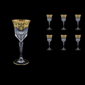 Adagio C3 F0026 Wine Glasses 220ml 6pcs in Natalia Golden Black Decor (F0026-0413)