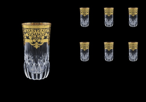Adagio B0 F0026 Water Glasses 400ml 6pcs in Natalia Golden Black Decor (F0026-0400)