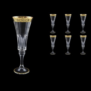 Wellington CFL WMGB Champagne Flutes 180ml 6pcs in Lilit Golden Black Decor (31-2010)