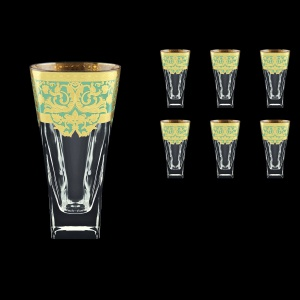 Fusion B0 F002T Water Glasses 384ml 6pcs in Natalia Golden Turquoise Decor (F002T-0100)