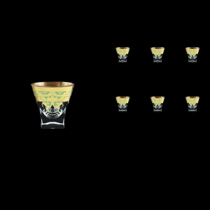 Fusion B5 F002T Liqueur Tumblers 65ml 6pcs in Natalia Golden Turquoise Decor (F002T-0105)