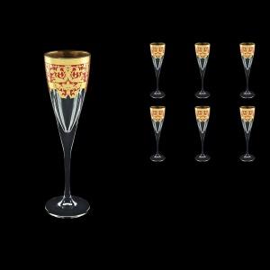 Fusion CFL F0022 Champagne Flutes 170ml 6pcs in Natalia Golden Red Decor (F0022-0110)